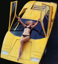Overview with model: Lamborghini Countach LP400, prototype by Marcello Gandini for Bertone, 1971