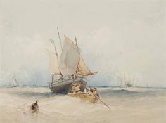 Pintura de William Callow - barcos de pesca de Lowestoft por MotionAge Diseños