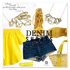 """""""DENIM"""" by selmir ❤ liked on Polyvore featuring J.Crew, Vince Camuto, Dolce&Gabbana, rag & bone, jeanshorts, denimshorts and cutoffs"""