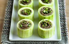 """""""vegan party dishes omnivores will enjoy, too"""" 15 recipes. Shown: Chilled Soba in Cucumber Cups Great Recipes, Vegan Recipes, Cooking Recipes, Favorite Recipes, Appetizers For Party, Appetizer Recipes, Party Recipes, Cucumber Appetizers, Brunch Recipes"""
