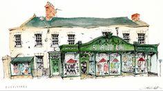 Chris Lee Watercolor Landscape Paintings, Watercolor Sketch, Watercolor Ideas, Building Sketch, Urban Sketchers, Art Sketchbook, Paint Designs, Illustration Art, Illustrations