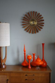 At a recent interiors shoot, Italian and Danish cased glass from deedee9:14 in a California mid-century bungalow. This type of glass can be purchased online at http://www.deedee914.com