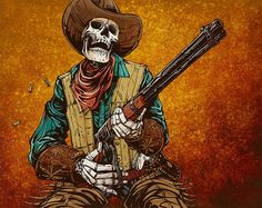 Racking Rounds by David Lozeau Skeleton Western Canvas Fine Art Print – moodswingsonthenet