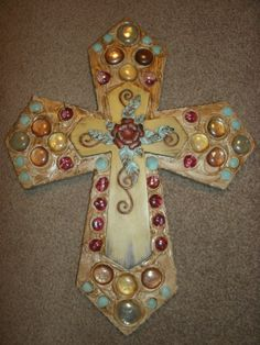 Decorated Wooden Cross Design Home Wall by CraftsbyDebbieLea, $45.00