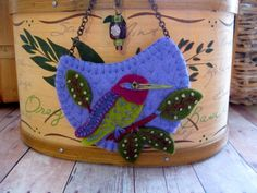 Embroidered Felt Hummingbird Necklace - Ready to Ship by SandhraLee on Etsy https://www.etsy.com/listing/130154727/embroidered-felt-hummingbird-necklace