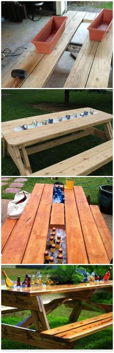 Replace board of picnic table with rain gutter. Fill with ice and enjoy!