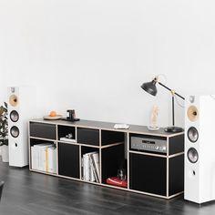 @wouterkaan's sound setup really rocks the house - thanks to a Type01 media console in sleek black plywood. . . . #vinyllovers #vinylstorage #vinylmusic #musicsetup #livingroomideas #furnituredesign #modernfurniture #audioroom