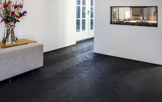 Black Wooden Floor, Versailles Pattern, Mint Green Walls, Floor Stain, Stair Steps, Floor Patterns, Plank Flooring, House Made, Home Renovation