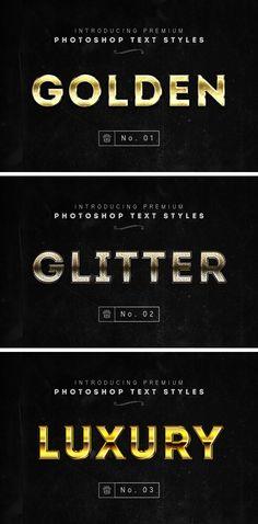 3 Photoshop Gold Text Styles - download freebie by PixelBuddha