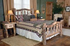 Rustic bedroom furniture sets very suitable for those of you who really want to have a gorgeous bedroom and also beautiful. And of course with the black bedroom furniture sets, cheap rustic bedroom furniture sets, white bedroom furniture sets Rustic Bedroom Furniture Sets, Cabin Furniture, Rustic Bedding, Furniture Ideas, Bedroom Rustic, Cedar Furniture, Furniture Market, Furniture Vintage, Furniture Stores