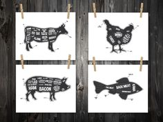 4 Butcher Diagram Prints, Cow, Pig, Fish, Chicken, Kitchen Print, Butcher Chart, Kitchen Art, Butcher Diagram, Butcher Prints, Cuts of Meat by BentonParkPrints on Etsy https://www.etsy.com/listing/166125635/4-butcher-diagram-prints-cow-pig-fish