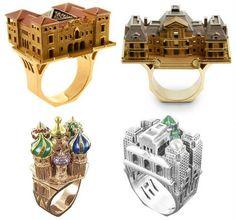 Lleve su amor por la arquitectura en el dedo con los anillos de platino u oro en forma de edificios. El joyero parisino Philippe Tournaire recrea estructuras de todo el mundo, incluyendo su ciudad natal, Moscú, Nueva York, e incluso ha hecho réplicas de bloques enteros de una ciudad.