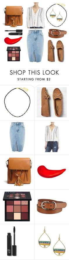 """""""Your Old Moccasins"""" by jujuslon on Polyvore featuring Minnetonka, Topshop, Lush, Forever 21, Etude House, Huda Beauty, Uniqlo and Design Lab"""