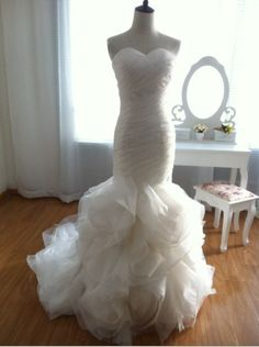 Vera Wang Inspired Organza Mermaid Wedding Dress Strapless Sweetheart Ruffle Ball Gown Skirt. $450.00, via Etsy.