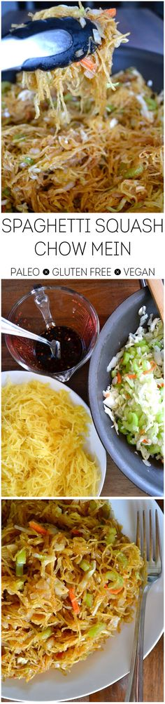 Sub out the soy sauce with coconut aminos. omit the sugar. Spaghetti Squash Chow Mein - paleo, gluten-free, vegan, easy and delicious!
