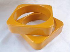 Vintage Retro Mustard Yellow Square Wide Mod by MemawsTopDrawer, $36.00