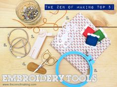 Top 5 Must-Have Embroidery Tools: Needlework is a genre filled with amazing accessories, so narrowing them down to just five of my favorite embroidery tools was pretty tough. Owl Embroidery, Embroidery Tools, Embroidery Scissors, Crochet Tools, Pretty Tough, Wooden Hoop, Top 5, Love Craft, Diy Craft Projects