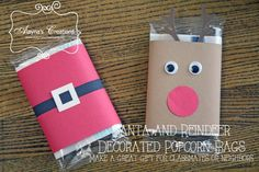 Santa and Reindeer Decorated Popcorn Bags make a great Christmas gift for classmates or neighbors