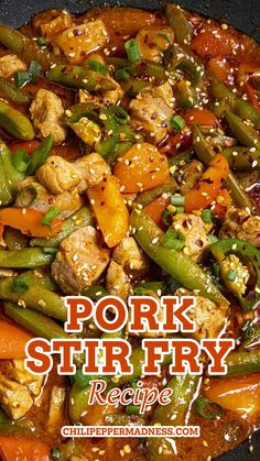 We're cooking up a Spicy Pork Stir Fry in the Chili Pepper Madness kitchen tonight, my friends. Would you care for a bowl? I've had a lot of pork stir fries in restaurants or through take out, and they're often hit or miss. Sometimes the flavor is there, sometimes it isn't, and sometimes it has the heat I'm craving, but most times it doesn't. This particular Pork Stir Fry hits all those notes.