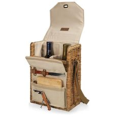 "Corsica Deluxe Wine & Cheese Basket - Natural Canvas. The uniquely sophisticated Corsica wine and cheese basket is perfect for picnics, concerts, or travel. The Corsica is an insulated wine and cheese basket with divided compartment for two wine bottles and an exterior canvas pocket to hold the included accessories: 1 hardwood cutting board (6"" x 6""), 1 stainless steel waiter-style corkscrew, and 1 stainless steel cheese knife with wooden handle."