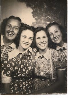 Friends in a photo booth...1940's.