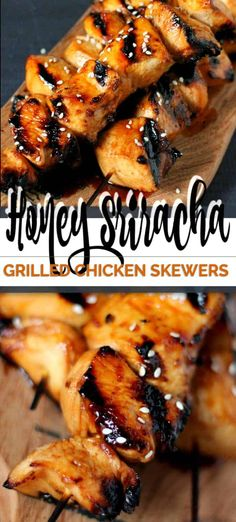 This recipe for Honey Sriracha Grilled Chicken Skewers is 'sweet, mildly sour with a bit of a kick' taste. It' a blend of all the great things in a marinade Healthy Grilling, Grilling Recipes, Cooking Recipes, Grilling Ideas, Recipes For The Grill, Healthy Bbq Recipes, Vegetarian Grilling, Barbecue Recipes, Steak Recipes