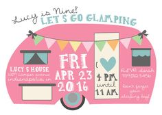 Glamping Birthday Invitation Girl Camping Sleepover Party Invite Pink Camper Camp Printable Boho Glamper 9th Bday
