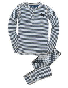 Blue Moose Stripe Kids' Overall Print Pajama Set