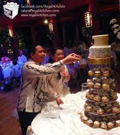 Filipiniana Wedding Cake with harana (serenade) design, and Filipiniana Cupcakes to celebrate the union of 2 amazing people. Filipiniana Wedding, Cupcake Cakes, Cupcakes, Caramel Frosting, Dark Chocolate Cakes, Brown Beige, Earth Tones, Wedding Designs, Wedding Cakes