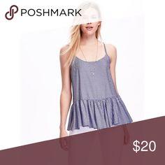 Peplum Cami Blue Gingham 55% cotton, 45% viscose rayon. Rounded neckline. Adjustable spaghetti straps. Peplum hem gather at waist. Soft, lightweight jersey. Old Navy Tops Tank Tops