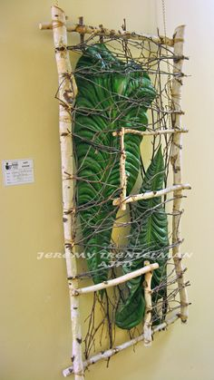 """""""Yin and Yang"""" The frame is birch branches and elephant ear philodendron. This was one of several pieces on exhibit at my last art show. Birch Branches, Elephant Ears, High Art, Botanical Art, Installation Art, Exhibit, Ladder Decor, Flower Arrangements, Beautiful Flowers"""