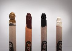 Crayons carved into Star Wars characters