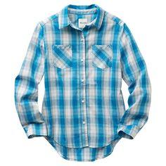 5c4a5c51253 Girls 7-16   Plus Size Mudd® Button-Front Plaid Shirt
