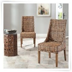 Safavieh Stacy Dining Sling Chair - Walnut Legs - Set of 2