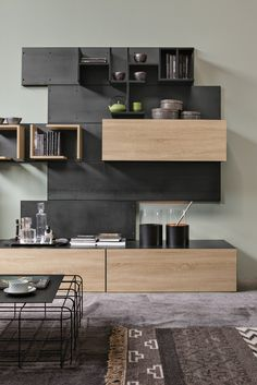 Industrial style sectional wall-mounted storage wall Iron R02 Iron Line by @rondadesignsrl | #design Adriani e Rossi Edizioni