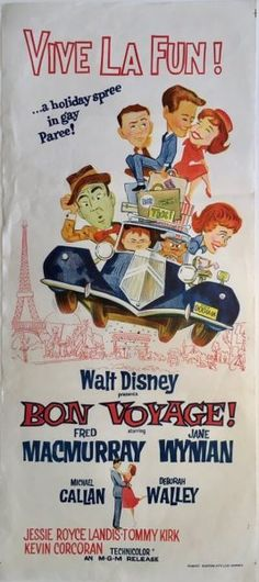 Bon Voyage 1962 Walt Disney original vintage Australian daybill. Available to purchase from our web based store.