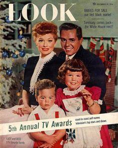 Lucy Ball, Dezi Arnaz y familia. Tapa revista LOOK para navidad de 1954.