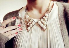 a sparkly new collar necklace instantly updates an old blouse
