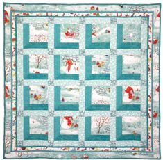 """Free pattern, """"Snowman in the Window"""" by Marinda Stewart for Michael Miller Fabrics as seen at Quilt Inspiration"""