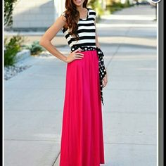 """Fuchsia stripe and polka dot maxi dress Never been worn. Black and white top, pink maxi dress with polka dot tie belt. Laying flat measures 14"""" across the waist, 17"""" laying flat below the armpits, overall length is 57"""". Dresses Maxi"""