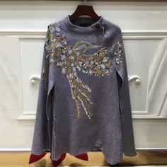 Beading & Sequins Bird Pattern Bat Sleeves Wrap Cashmere Cloak //Price: $71.30 & FREE Shipping //     #freeshipping