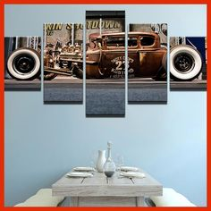 Modern Home HD Prints Fashion Wall Art Poster Frame 5 Pieces Pictures Old Vintage Car Boys Room Decor Painting On Canvas PENGDA
