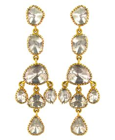 NEW Solid 14k Yellow Gold 3.25ct Rose Cut Diamond Dangle Earrings Victorian Look #Handmade #Chandelier