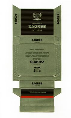 Packaging design for cigarettes Zagreb Exclusive, Tobacco Factory Zagreb (TDZ), unknown year