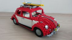 My bricklincked lego VW Beetle with selfmade surfboard
