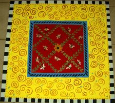 FLOORCLOTH /  hand painted rug /   honey by countryfloorcloths, $150.00
