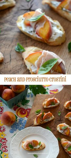 Peach and Prosciutto Crostini with Basil and Goat Cheese | homeiswheretheboatis.net #summer #easy #appetizer