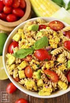 Grilled Corn and Avocado Pasta Salad with Chili Lime Dressing is an easy, gluten-free pasta salad recipe | iowagirleats.com