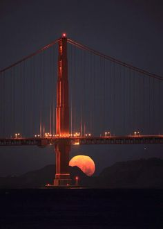 Golden Gate Moonset, photo by. Can't wait for San Francisco/Napa trip in September! Beautiful Moon, Beautiful World, Beautiful Places, Beautiful Pictures, Amazing Places, Puente Golden Gate, Stars Night, Shoot The Moon, Places To See