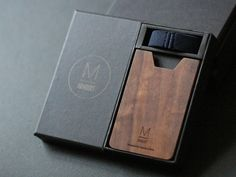 Blue color strap wallet with Walnut wood wallet / by IngeniousBros